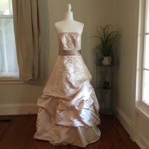 Oleg Cassini Champagne Embroidered Beaded Wedding